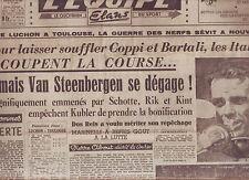 journal  l'équipe  du 14/07/49 CYCLISME TOUR DE FRANCE 1949 VAN STEENBERGEN
