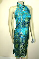 Asian Chinese Woman Short Silk Dress turquoise ( CJDQ )