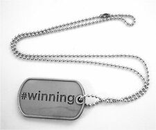 "CHARLIE SHEEN ""WINNING"" DOG TAG BALL CHAIN NECKLACE NEW OFFICIAL TOUR 2011"
