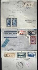 LEBANON 1930 40 THREE COVERS TWO REGISTERED W/ ARMY STAMPS ONE FROM THE DIRECTOR