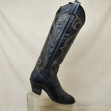 LARRY MAHAN Black Leather Tall Cowboy Western Boots Womens Size 5.5 B