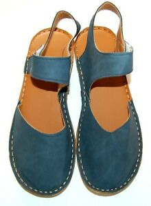 NEW 9  (41)  MARY JANE FLATS DENIM COLOR FAUX LEATHER ROUND TOE