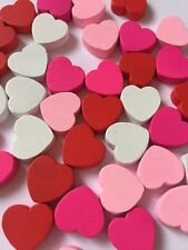 40 SMALL WOODEN HEARTS-CRAFT HEARTS-WHITE/RED/PINK-15MM-VALENTINES EMBELLISHMENT