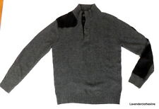 Marc Ecko Cut & Sew Mens L Gray & Black Corduroy Elbow Patch Wool Blend Sweater