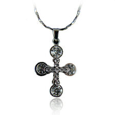 14k White Gold GF Beaded Crystals Cross Pendant Necklace With Swarovski Elements