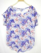 Jeanswest Womens Top 8 Floral Loose Blouse Layering Blue Pink Summer Beach D335