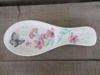 """NEW Lenox Butterfly Meadow Spoon Rest Holder 10"""" long"""
