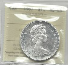 **1967**, ICCS Graded Canadian Silver Dollar **MS-65**
