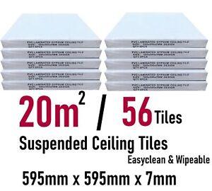 20m2 Suspended Ceiling Vinyl Wipeable 595x595 EasyClean 600x600 56 Tiles Pack