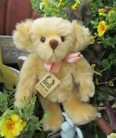 "VINTAGE 12"" MOHAIR TEDDY BEAR GERMAN GRISLY METAL BUTTON & RARE TAGS TOBY WINNER"