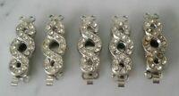 5 X Fermeture Pour Collier Perles Verrouillage par Chaîne Métal avec Pierres