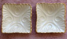 Lot 2 Lenox Embossed Footed Square Ashtray Trinket Nut Mint Soap Jewelry Dishes
