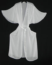 Dentelle Intimate Robe White Shell Beading and Sequins Size M  Batwing Belted