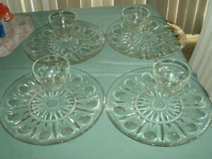 VINTAGE PRINCESS HOUSE CRYSTAL REGENCY' SET OF 4 SNACK PLATES WITH CUPS