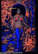 African Jungle Princess Afro Psychedelic Art Blacklight Poster Woodstock