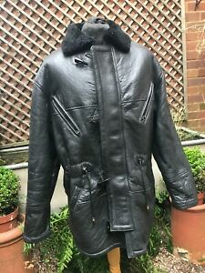 Vintage heavy Genuine black leather & Shearling Duffle Flying Casual coat men's