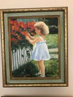 Framed original Oil Painting of a young girl with flowers.