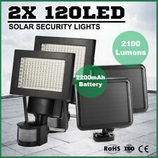 Pair 120 LED Solar Sensor Light Security Motion Detection Garden Flood Lights