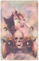 92820 VINTAGE MACABRE POSTCARD DRINKING LOVERS IN AUTOMOBILE WITH SKULL ON GRILL