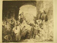 Antique van Gelder etching 'Mordechai' Rembrandt Van Rijn; 1904