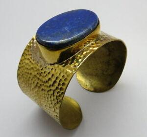 Rustic Brass Cuff Bracelet Natural Gemstone Lapis Lazuli Hammered Bangle Cuff