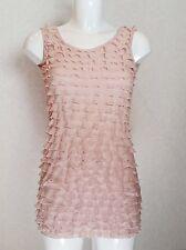PILOT nude pink full front Frill detail sleeveless Long body Vest Top s.10 dress