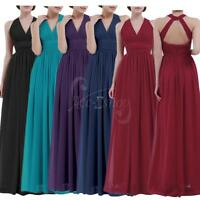 Sexy Womens Halter V Neck Bridesmaid Long Evening Cocktail Prom Ball Gown Dress