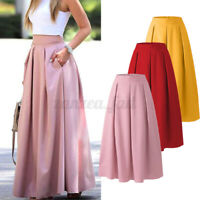 UK Women Summer Casual Loose A Line Long Maxi Skirts Solid Baggy Dress Oversized