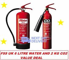 Fire extinguisher set (2kg CO2 + 6ltr Water) Home Office Workplace BS Kitemark