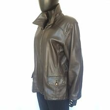 Tannery West Womens Black Leather Jacket Size Large Motorcycle Jacket L Vtg