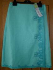 Marks & Spencer M & S Skirt 12 Light Aqua Linen Wrap Embroidery Beads £39.50 New