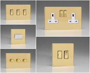 Varilight Screwless Polished Brass Range - White Inserts & Brass Switches
