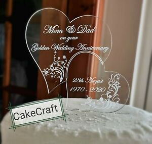 Gold /Diamond Wedding Anniversary personalized acrylic cake toppers decorations