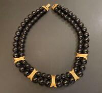 Vintage Napier Double Strand Black Bead & Gold Tone Metal Inserts Necklace