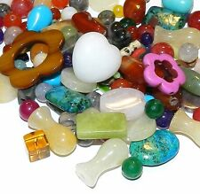 NG1132 Mixed Gemstone Assorted Shapes & Rounds 2mm - 28mm Beads 50-grams