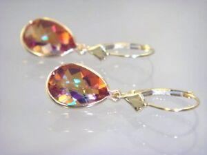 Twilight Fire Topaz, 14k Gold Leverback Earrings, E221