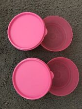 New*Tupperware*Set Of Two* 1 Cup Little Wonder Bowls*Hot Pink/Pink Lids