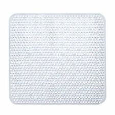 Square Shower Mat, Plastic, Clear/Turquoise