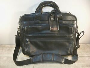 TUMI 96130D4 Alpha Black Leather Computer Laptop Essential Brief Briefcase Bag