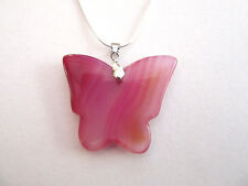 """925 Silver Pendant With Butterfly Pink Stripped Agate  On 22"""" Chain  (nk1672)"""