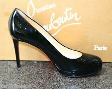NIB Christian Louboutin NEW SIMPLE 100 PLATFORM BLACK PATENT Pumps Shoes 36.5