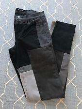 J Brand Denim Black & Gray Colorblock Patchwork Slick Skinny Jean Low Rise SZ 25