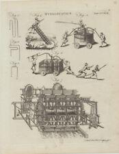 FEUERWEHR Feuerwehrspritze Kupferstich um 1820 Feuerwehrmänner Maschinen FEUER