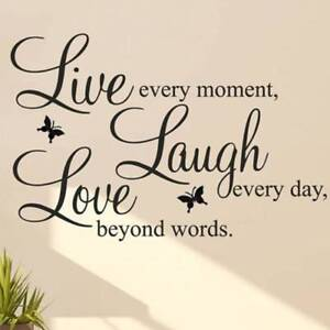 Laugh Love Quotes Wall Decals Home Decorations Removable DIY Wall Stickers hot.