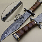 BEAUTIFUL CUSTOM HAND MADE DAMASCUS STEEL HUNTING BOWIE KNIFE WITH ROSE WOOD