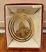 RARE Walt Disney World Castle Solid Brass 24K Gold Plated Classic Ornament VTG