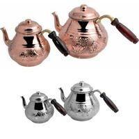 Turkish Copper Teapot Kettle Handmade Traditional Coffee Boiler Wooden Handle