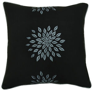Cotton Black Floral Embroidered Cushion Cover Indian Throw Square Pillow Case