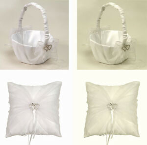 FLOWER GIRL BASKET/RING PILLOW W/DOUBLE HEART RHINESTONE ACCENT & ORGANZA