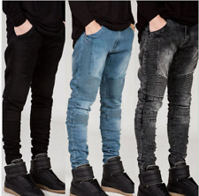 Men Skinny Jeans Ripped Slim Fit Stretch Trousers Destroyed Denim Biker Pants US